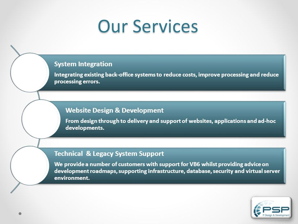OurServices Our Services System Integration Integrating existing back-office systems to reduce costs, improve processing and reduce processing errors.