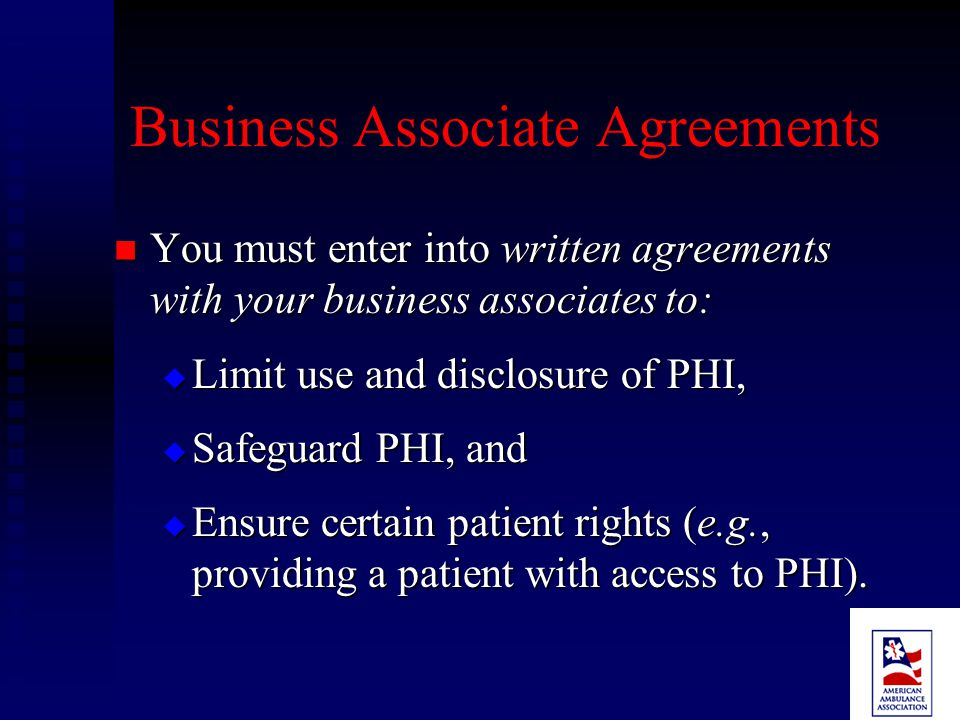 Examples - No Business Associate Disclosure of PHI: Disclosure of PHI:  To a provider for treatment of a patient.