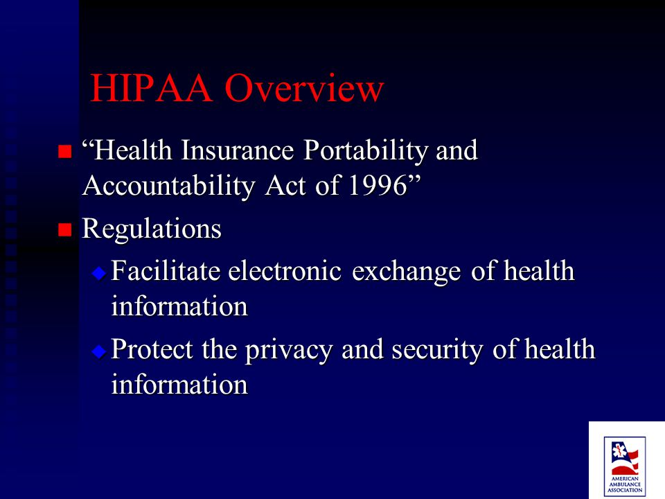 Outline of Presentation HIPAA Overview HIPAA Overview Transactions and Code Set Rule Transactions and Code Set Rule Security Rule Security Rule Privacy Rule Privacy Rule