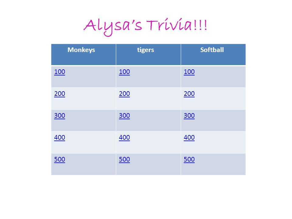 Alysa's Trivia!!! Monkeys tigers Softball 100 200 300 400 500