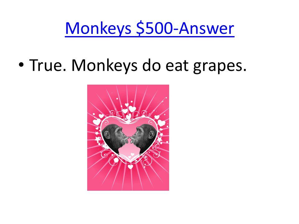 Monkeys $500-Answer True. Monkeys do eat grapes.