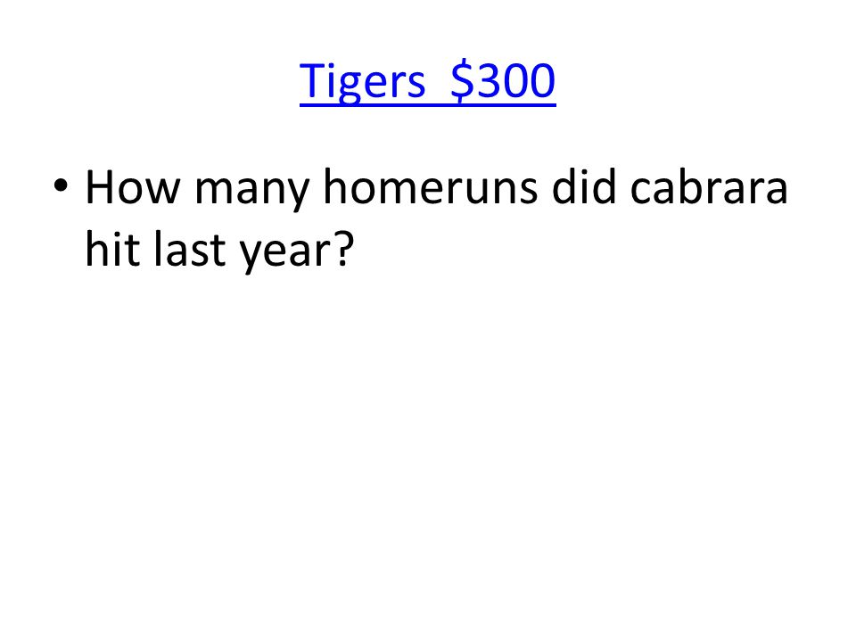Tigers $300 How many homeruns did cabrara hit last year?