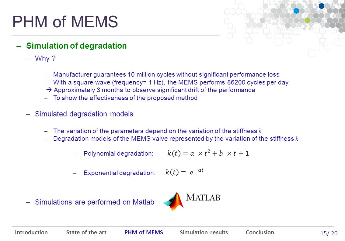 15/ 20 PHM of MEMS Introduction State of the art PHM of MEMS Simulation results Conclusion  Why .