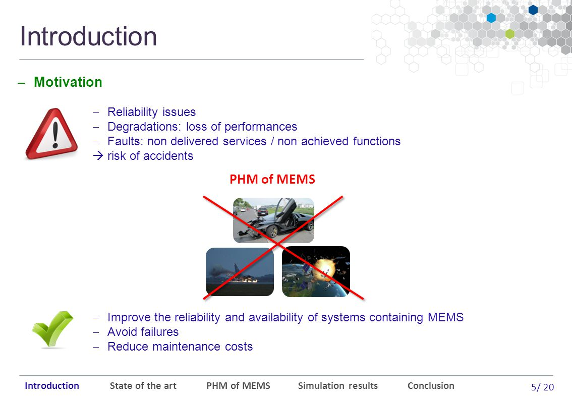 5/ 20 Introduction Introduction State of the art PHM of MEMS Simulation results Conclusion  Reliability issues  Degradations: loss of performances  Faults: non delivered services / non achieved functions  risk of accidents PHM of MEMS –Motivation  Improve the reliability and availability of systems containing MEMS  Avoid failures  Reduce maintenance costs