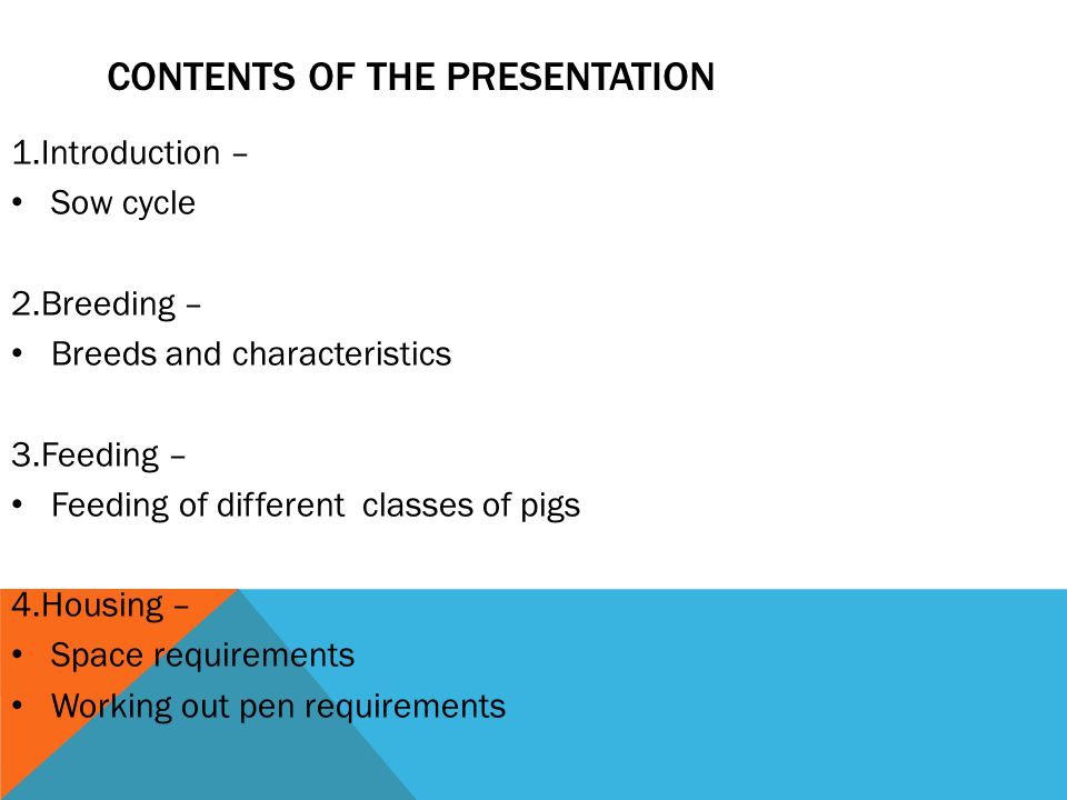 CONTENTS OF THE PRESENTATION 1.Introduction – Sow cycle 2.Breeding – Breeds and characteristics 3.Feeding – Feeding of different classes of pigs 4.Housing – Space requirements Working out pen requirements