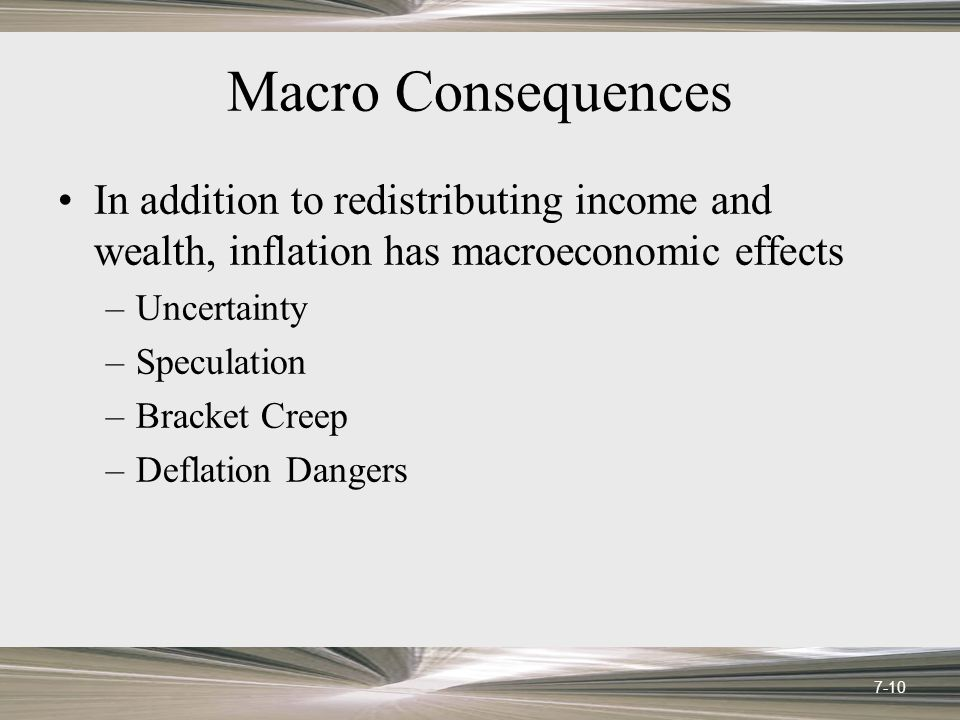 Macro Consequences In addition to redistributing income and wealth, inflation has macroeconomic effects –Uncertainty –Speculation –Bracket Creep –Defl