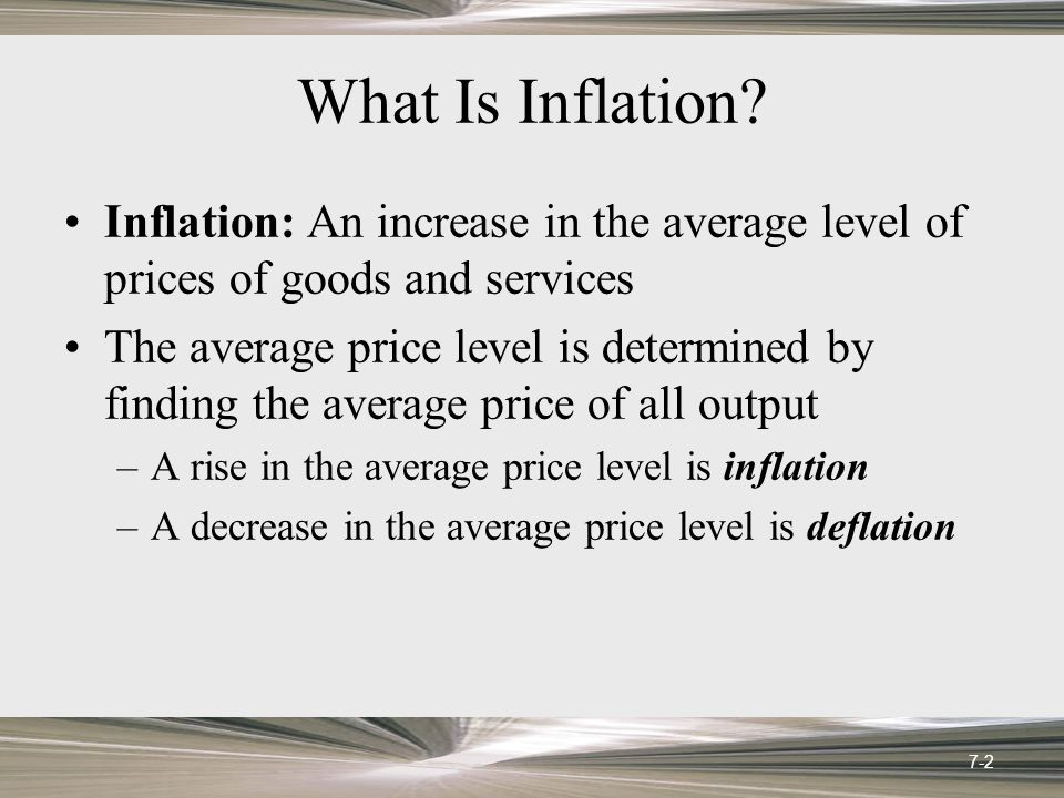 The GDP Deflator: GDP deflator: A price index that refers to all goods and services included in GDP, including consumer goods, investment goods, and government services Not limited to a fixed basket Reflects price changes and market responses 7-23