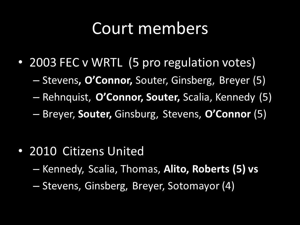 Court members 2003 FEC v WRTL (5 pro regulation votes) – Stevens, O'Connor, Souter, Ginsberg, Breyer (5) – Rehnquist, O'Connor, Souter, Scalia, Kennedy (5) – Breyer, Souter, Ginsburg, Stevens, O'Connor (5) 2010 Citizens United – Kennedy, Scalia, Thomas, Alito, Roberts (5) vs – Stevens, Ginsberg, Breyer, Sotomayor (4)
