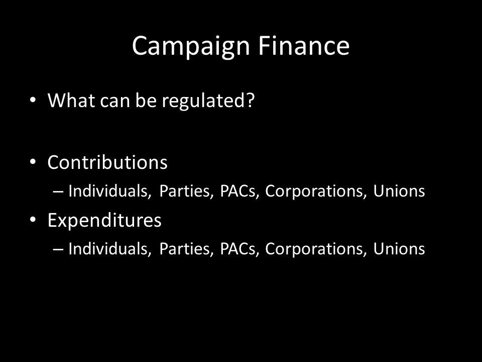 Campaign Finance What can be regulated.