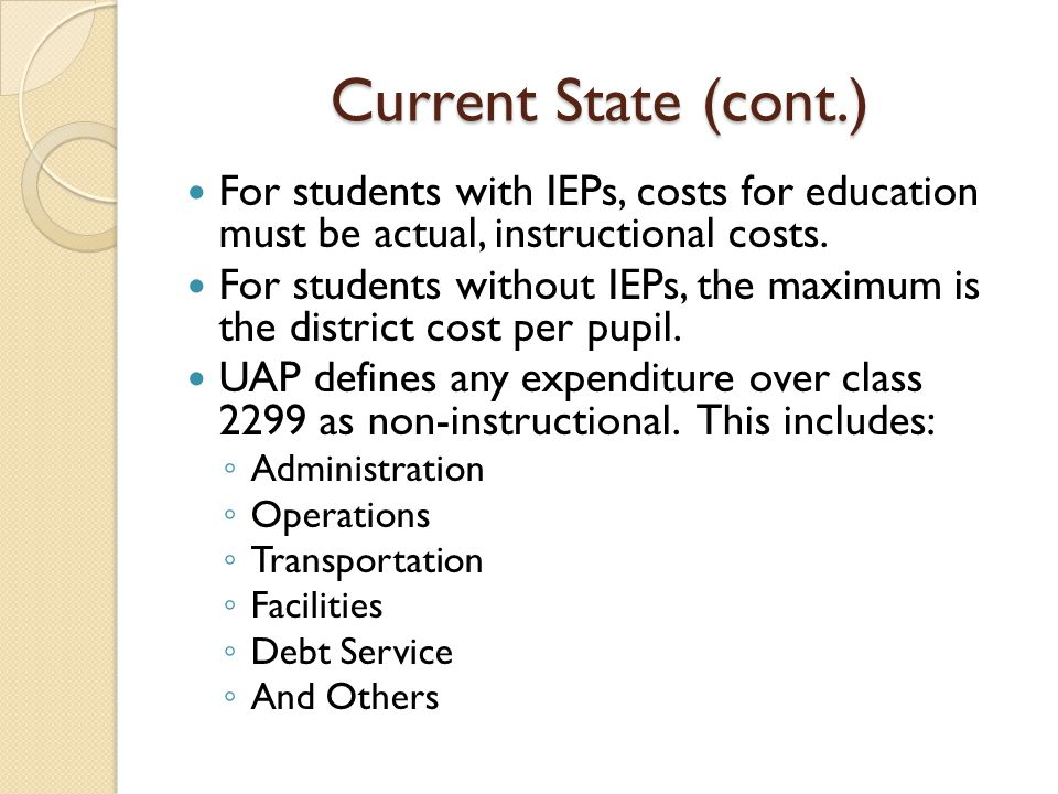 Current State (cont.) For students with IEPs, costs for education must be actual, instructional costs. For students without IEPs, the maximum is the d