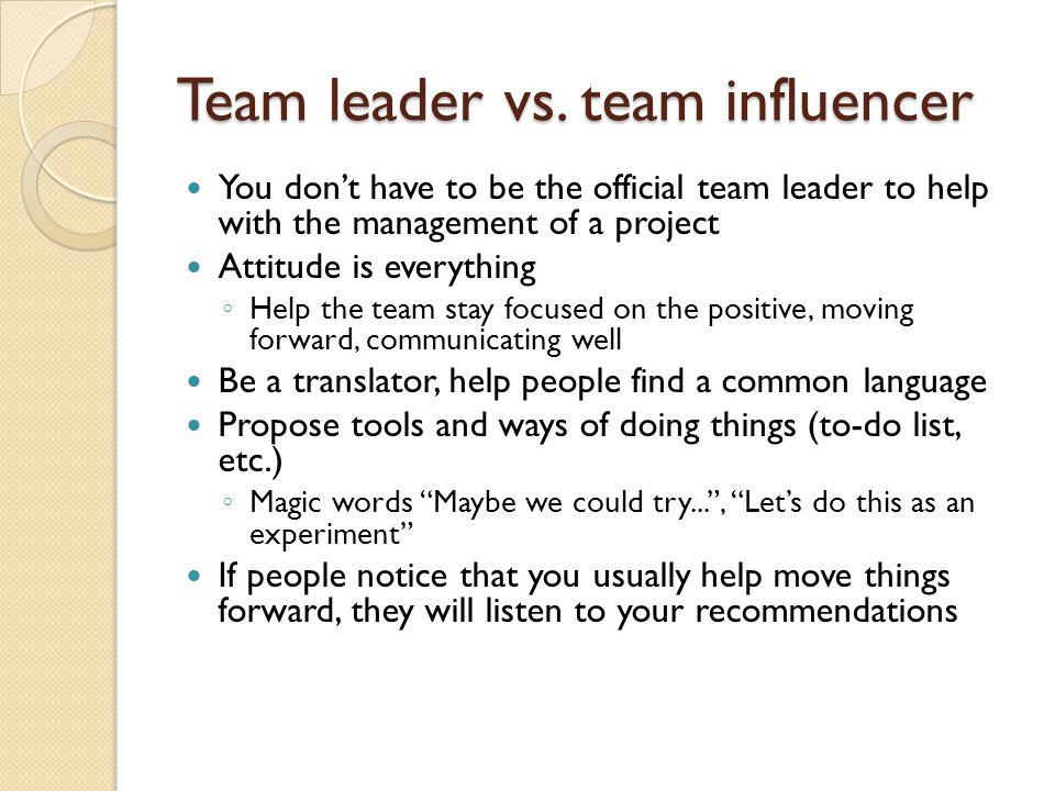 Team leader vs.