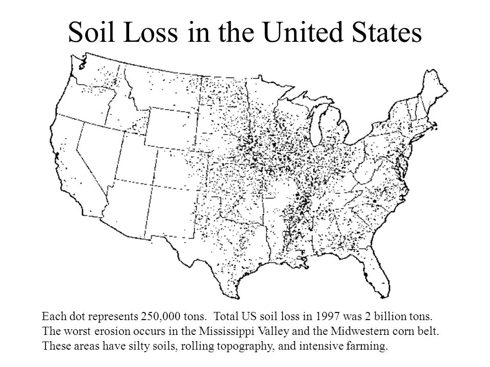 Soil Loss in the United States Each dot represents 250,000 tons.