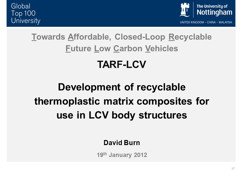 17 Towards Affordable, Closed-Loop Recyclable Future Low Carbon Vehicles TARF-LCV Development of recyclable thermoplastic matrix composites for use in