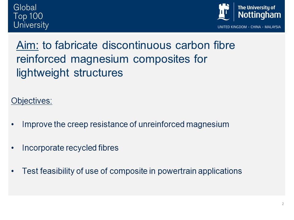 2 Aim: to fabricate discontinuous carbon fibre reinforced magnesium composites for lightweight structures Objectives: Improve the creep resistance of