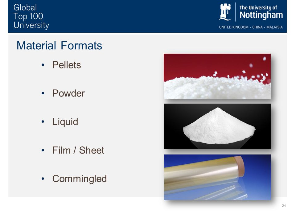 24 Material Formats Pellets Powder Liquid Film / Sheet Commingled
