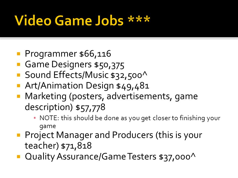  Programmer $66,116  Game Designers $50,375  Sound Effects/Music $32,500^  Art/Animation Design $49,481  Marketing (posters, advertisements, game description) $57,778 ▪ NOTE: this should be done as you get closer to finishing your game  Project Manager and Producers (this is your teacher) $71,818  Quality Assurance/Game Testers $37,000^