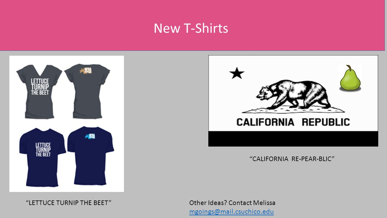 CALIFORNIA RE-PEAR-BLIC LETTUCE TURNIP THE BEET New T-Shirts Other Ideas.