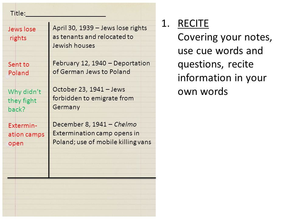 April 30, 1939 – Jews lose rights as tenants and relocated to Jewish houses February 12, 1940 – Deportation of German Jews to Poland October 23, 1941 – Jews forbidden to emigrate from Germany December 8, 1941 – Chelmo Extermination camp opens in Poland; use of mobile killing vans Jews lose rights Sent to Poland Extermin- ation camps open Why didn't they fight back.