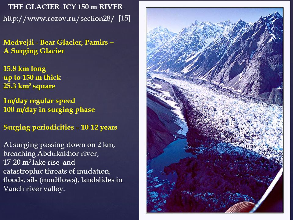 http://www.rozov.ru/section28/ Medvejii - Bear Glacier, Pamirs – A Surging Glacier 15.8 km long up to 150 m thick 25.3 km 2 square 1m/day regular speed 100 m/day in surging phase Surging periodicities – 10-12 years At surging passing down on 2 km, breaching Abdukakhor river, 17-20 m 3 lake rise and catastrophic threats of inudation, floods, sils (mudflows), landslides in Vanch river valley.