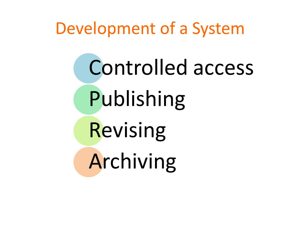 Development of a System Controlled access Publishing Revising Archiving