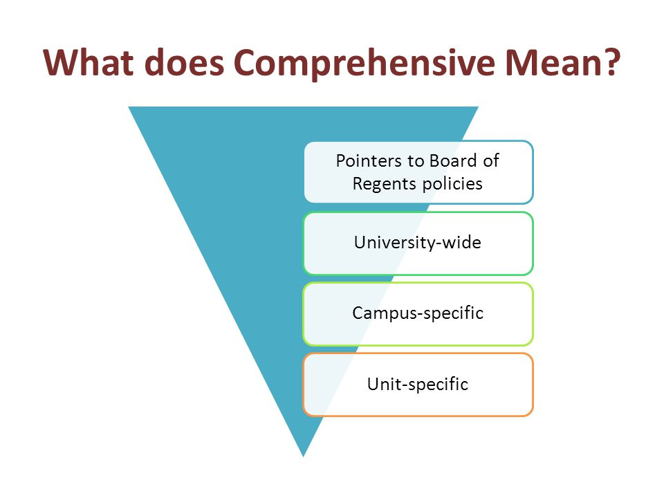 Pointers to Board of Regents policies University-wideCampus-specific Unit-specific What does Comprehensive Mean?
