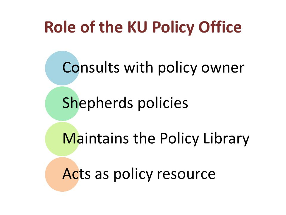 Role of the KU Policy Office Consults with policy owner Shepherds policies Maintains the Policy Library Acts as policy resource