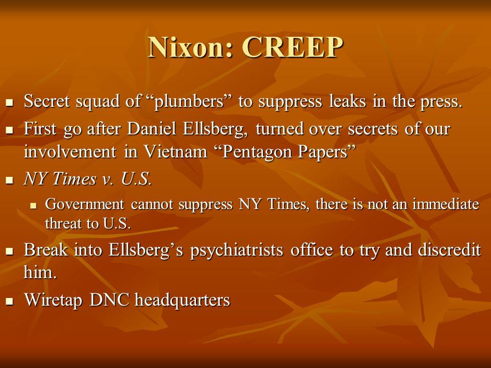 "Nixon: CREEP Secret squad of ""plumbers"" to suppress leaks in the press. Secret squad of ""plumbers"" to suppress leaks in the press. First go after Dani"