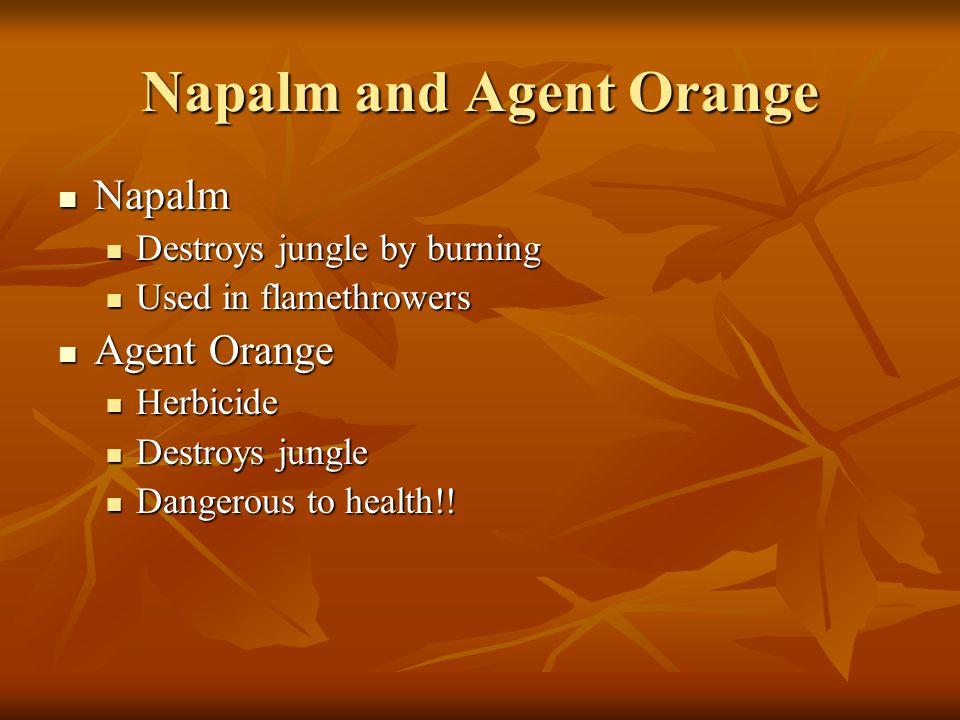 Napalm and Agent Orange Napalm Napalm Destroys jungle by burning Destroys jungle by burning Used in flamethrowers Used in flamethrowers Agent Orange A