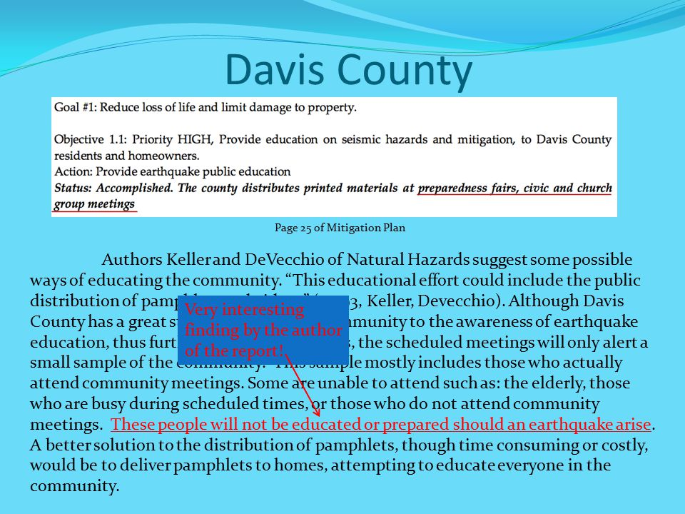 Davis County Authors Keller and DeVecchio of Natural Hazards suggest some possible ways of educating the community.