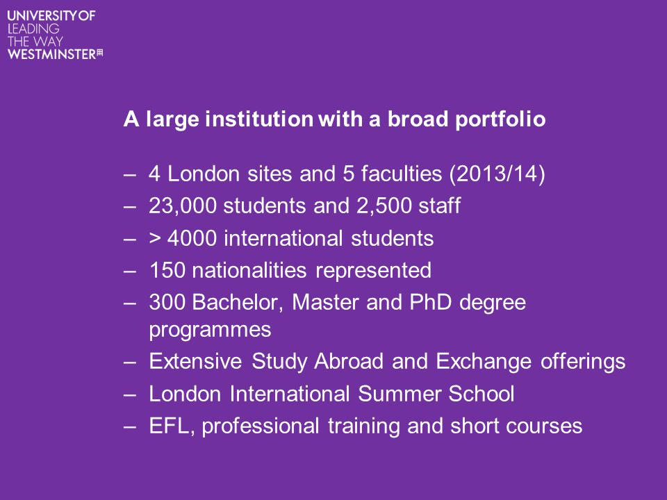 A large institution with a broad portfolio –4 London sites and 5 faculties (2013/14) –23,000 students and 2,500 staff –> 4000 international students –150 nationalities represented –300 Bachelor, Master and PhD degree programmes –Extensive Study Abroad and Exchange offerings –London International Summer School –EFL, professional training and short courses