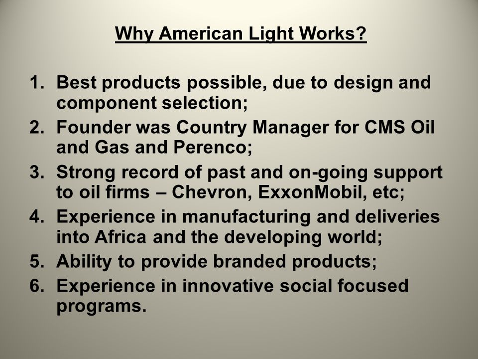 Why American Light Works.