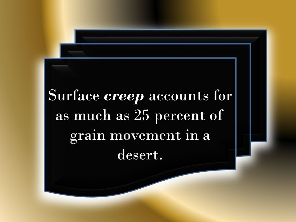 Surface creep accounts for as much as 25 percent of grain movement in a desert.