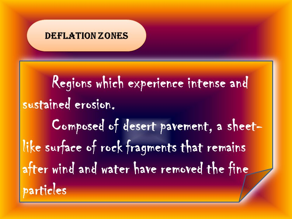 deflation zones Regions which experience intense and sustained erosion.
