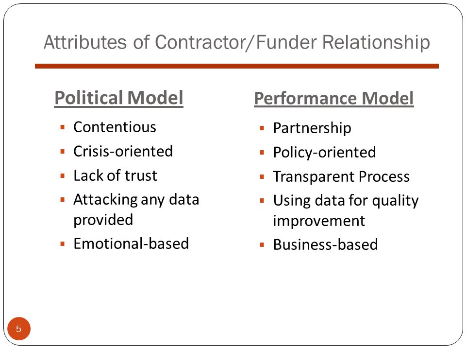 Attributes of Contractor/Funder Relationship  Contentious  Crisis-oriented  Lack of trust  Attacking any data provided  Emotional-based Political Model Performance Model  Partnership  Policy-oriented  Transparent Process  Using data for quality improvement  Business-based 5