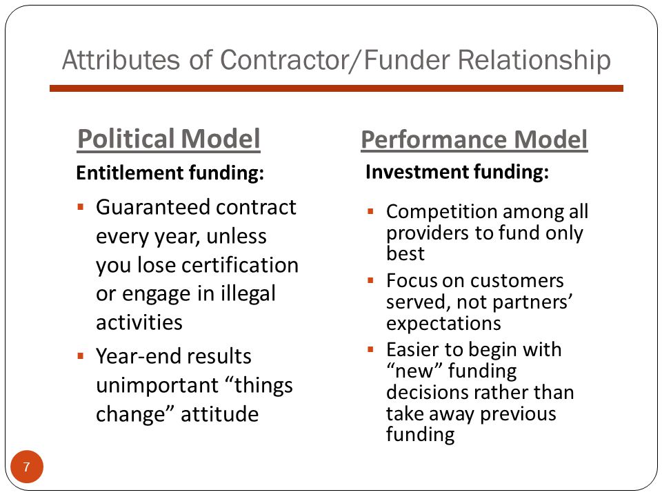 Attributes of Contractor/Funder Relationship  Guaranteed contract every year, unless you lose certification or engage in illegal activities  Year-end results unimportant things change attitude Political Model Performance Model Entitlement funding: Investment funding:  Competition among all providers to fund only best  Focus on customers served, not partners' expectations  Easier to begin with new funding decisions rather than take away previous funding 7