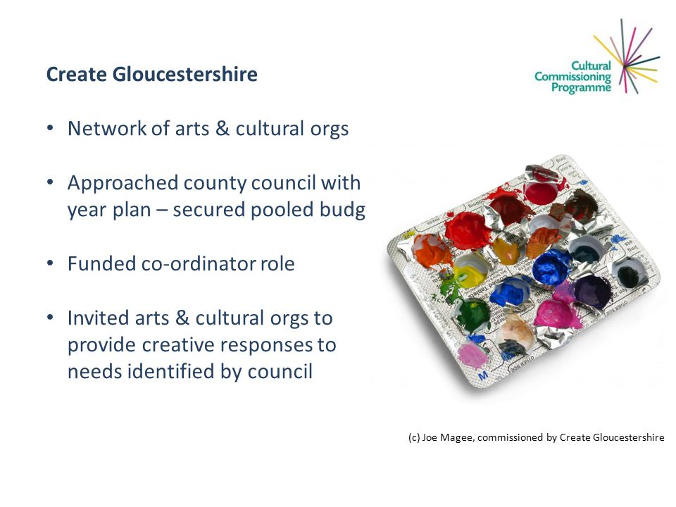 Create Gloucestershire Network of arts & cultural orgs Approached county council with 3 year plan – secured pooled budget Funded co-ordinator role Invited arts & cultural orgs to provide creative responses to needs identified by council (c) Joe Magee, commissioned by Create Gloucestershire