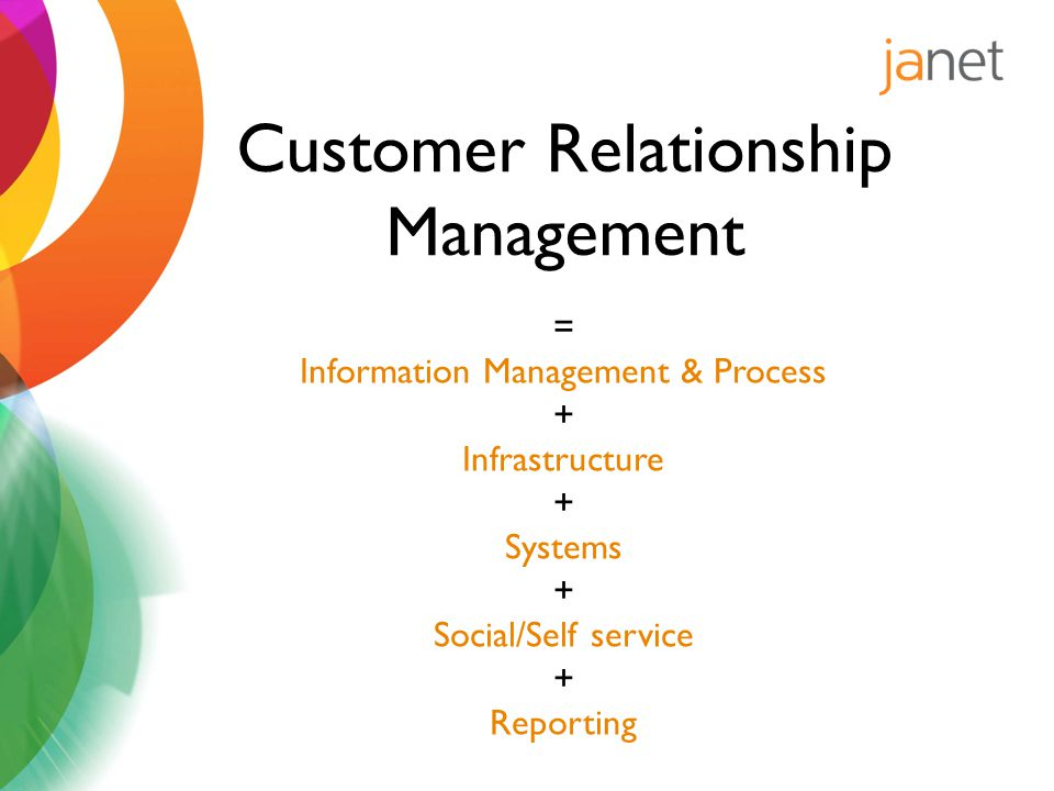 = Information Management & Process + Infrastructure + Systems + Social/Self service + Reporting Customer Relationship Management