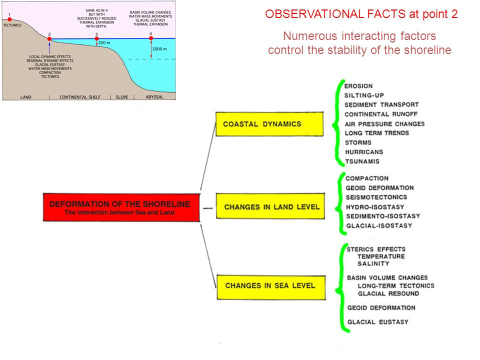 OBSERVATIONAL FACTS at point 2 Numerous interacting factors control the stability of the shoreline
