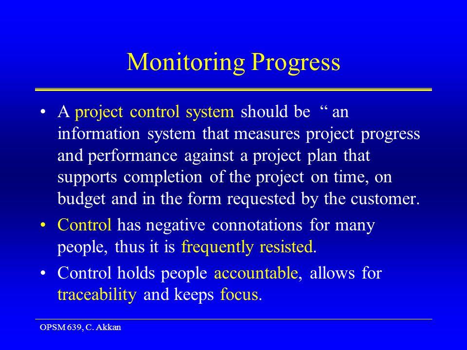 OPSM 639, C.Akkan Monitoring Progress Control process has four steps: –Setting a baseline plan.