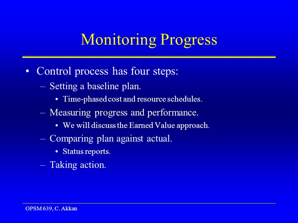OPSM 639, C. Akkan Monitoring Progress Control process has four steps: –Setting a baseline plan.