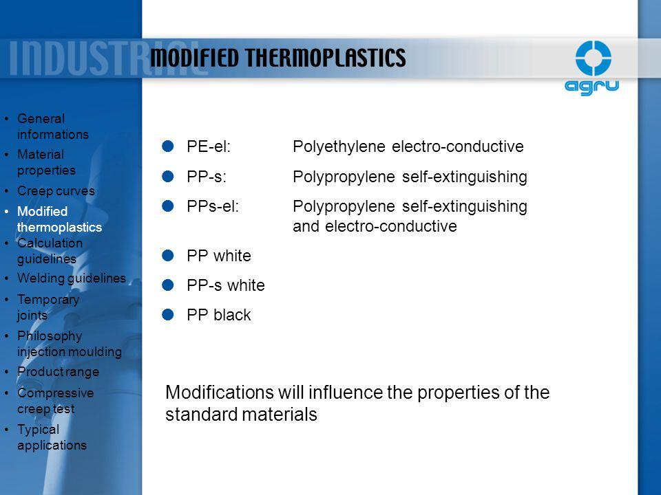 MODIFIED THERMOPLASTICS  PE-el:Polyethylene electro-conductive  PP-s:Polypropylene self-extinguishing  PPs-el:Polypropylene self-extinguishing and