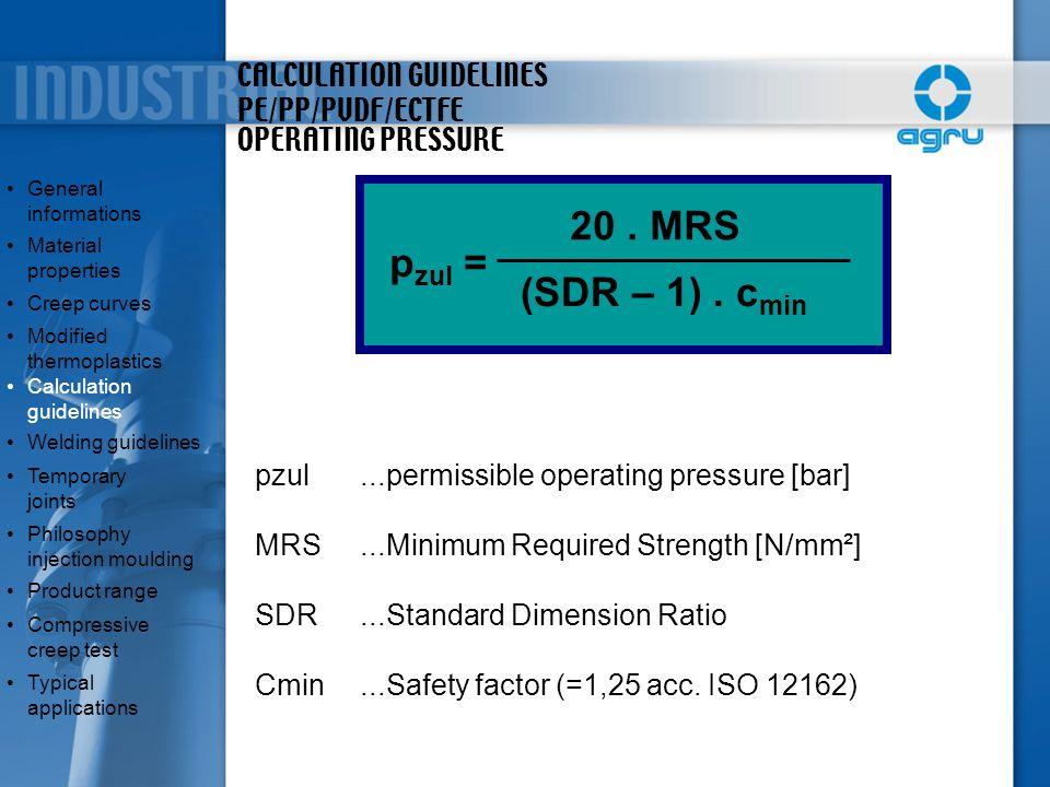 CALCULATION GUIDELINES PE/PP/PVDF/ECTFE p zul = 20. MRS (SDR – 1). c min General informationsGeneral informations Material propertiesMaterial properti