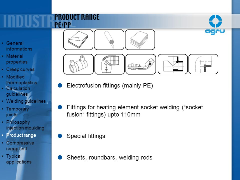 """PRODUCT RANGE PE/PP  Electrofusion fittings (mainly PE)  Fittings for heating element socket welding (""""socket fusion"""" fittings) upto 110mm  Special"""