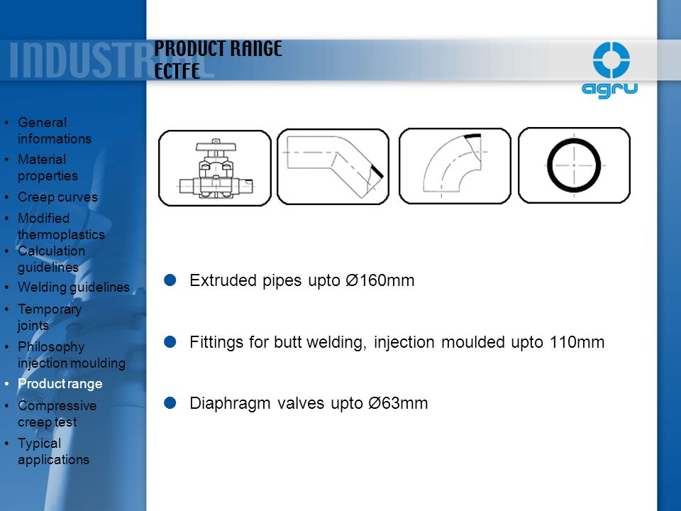 PRODUCT RANGE ECTFE  Extruded pipes upto Ø160mm  Fittings for butt welding, injection moulded upto 110mm  Diaphragm valves upto Ø63mm General infor