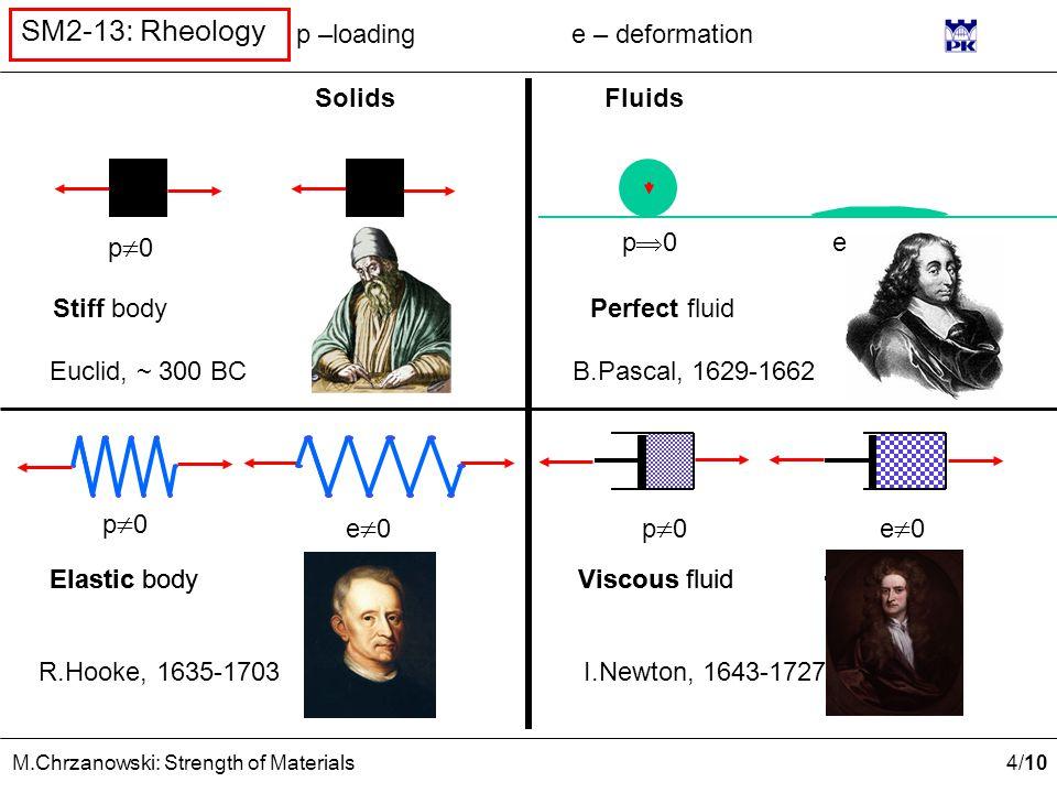 4 /10 M.Chrzanowski: Strength of Materials SM2-13: Rheology Euclid, ~ 300 BC R.Hooke, 1635-1703 B.Pascal, 1629-1662 I.Newton, 1643-1727 SolidsFluids p0p0 p0p0 e=0 e0e0 e  Elastic body Stiff body Viscous fluid Perfect fluid p –loadinge – deformation e=0 e0e0 e0e0p0p0 p0p0 Elastic bodyViscous fluid
