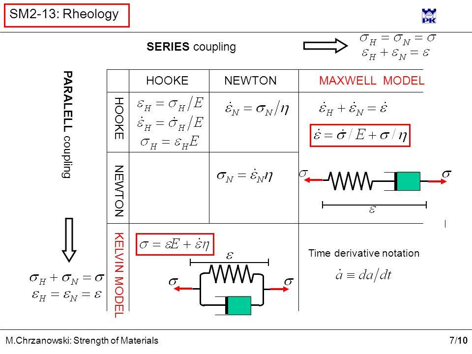 7 /10 M.Chrzanowski: Strength of Materials SM2-13: Rheology NEWTONHOOKE NEWTON HOOKE MAXWELL MODEL KELVIN MODEL SERIES coupling PARALELL coupling Time derivative notation