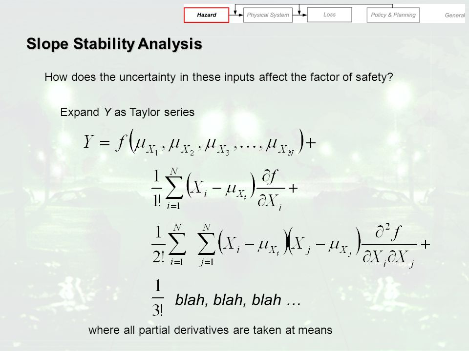 Slope Stability Analysis How does the uncertainty in these inputs affect the factor of safety.