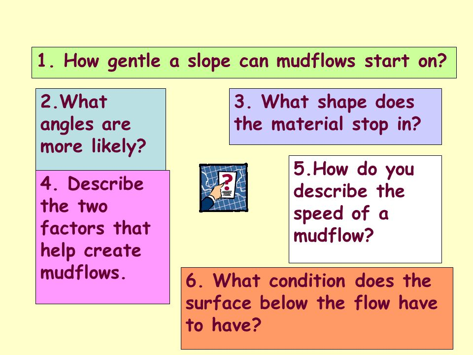 2.What angles are more likely. 1. How gentle a slope can mudflows start on.