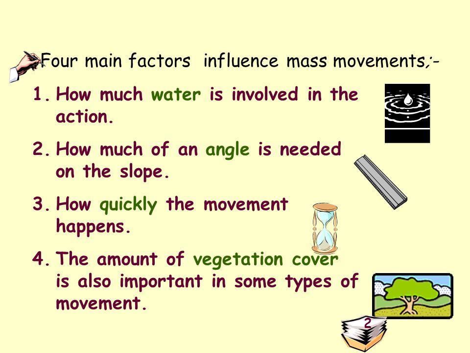 Four main factors influence mass movements;- 1.How much water is involved in the action.