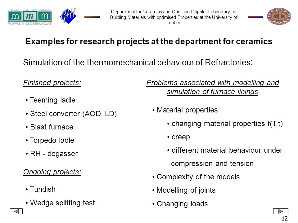 Department for Ceramics and Christian Doppler Laboratory for Building Materials with optimised Properties at the University of Leoben 12 Finished proj